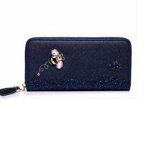 Fashion Modern PU Leather Women′s Wallet Purse with Diamond pictures & photos