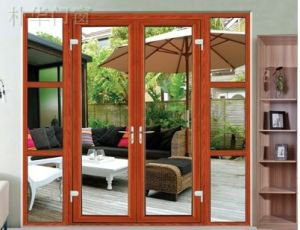 Luxury Balcony Aluminum Sliding Glass Door with Wooden Color (pH-8805) pictures & photos