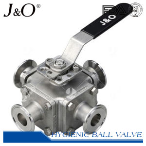 Four-Way Sanitary T-Clamp Direct Mount Ball Valve pictures & photos
