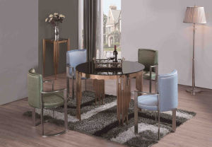 Rose Gold Glass Dining Table Set with Black Glass pictures & photos