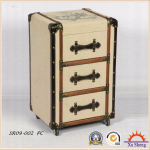 Antique Furniture 3-Drawers Linen Tufted Brown Wood Cabinet with Wheels for Living Room pictures & photos