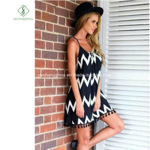 Fashion Euramerican Stripe Tassel Chiffon Skirt Sexy Maxi Dress Factory pictures & photos