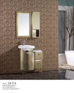 Floor-Mounted Antique  Stainless Steel Bathroom Cabinet with Side Cabinet pictures & photos
