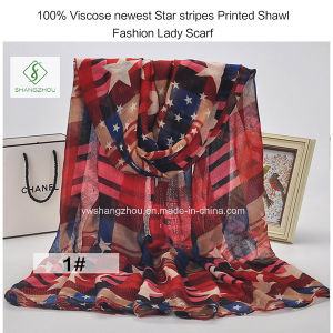 100% Viscose Newest Star Stripes Printed Shawl Fashion Lady Scarf pictures & photos