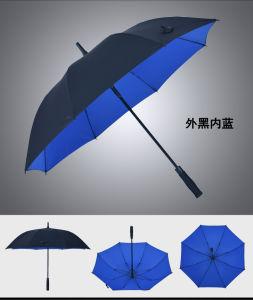 High Quality Big Size Straight Golf Umbrella Fiberglass Windproof Auto Umbrella pictures & photos