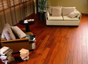 8.3mm Mahogany E0 HDF Handscrapte Surface Laminate Flooring pictures & photos