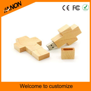 Cross Shape Wood USB Flash Drive with Your Logo pictures & photos