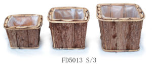 2017 Manufacturer Natural Round Wooden Flower Pot with Lining for Home and Garden Decoration pictures & photos