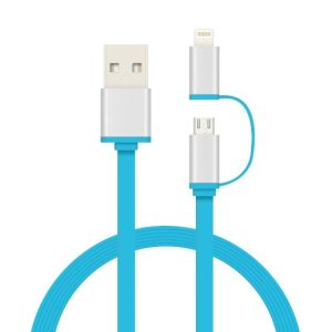 Two in One Flat USB Data Charging Cable with TPE Material pictures & photos