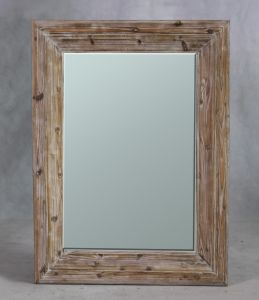 Beveled Wall Mirror Frame in Natural Timber Finish for Home Furniture pictures & photos
