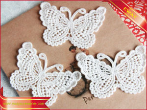 Nice Butterfly Lace Applique Cotton Embroidery Patches pictures & photos