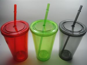 Double Wall Plastic Cup with Straw HJ1