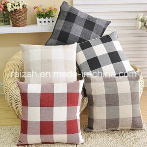 Sided Fashion Plaid Linen Pillow Cover pictures & photos