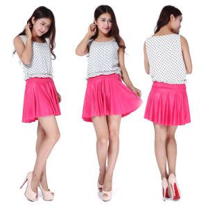Women′s Fashion Tall Waist Light Mini Color Pleated Skirt
