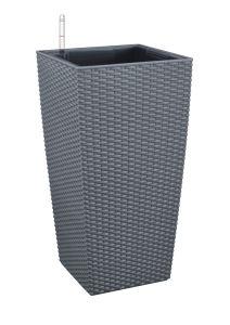 Woven Rattan Style Self-Watering Planter-No. 1 (Square Column)