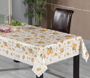PVC Printed Tablecloth with Lace Border (TJ0248) pictures & photos