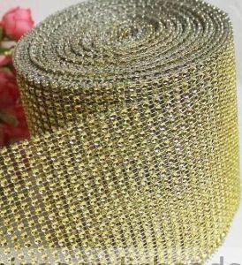 Fancy Diamond Mesh Trimming Rhinestone Eyes Sticker Wrap Rolls for Cake Table Runner Mesh Ribbon