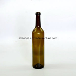 Green and Clear Bordeaux Cork Top Wine Bottle with 300mm 323mm High pictures & photos