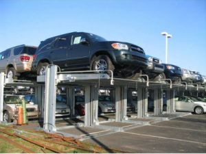 China Hydraulic Double Spaces Parking Lift 2 Post Car Lift pictures & photos