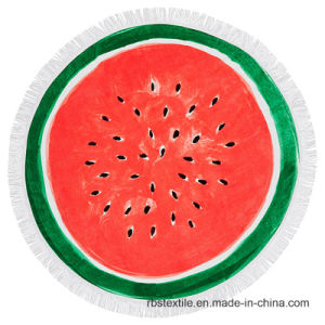 High Quality Round Watermelon Printing Beach Towel pictures & photos