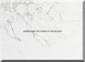 Carrara White Engineered Quartz Stone Slab Tiles for Countertop pictures & photos