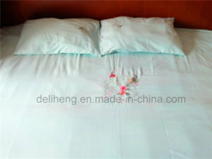 100% Microfiber Polyester 3PCS Plain Dyed Embroidery Bed Sheet Sets pictures & photos