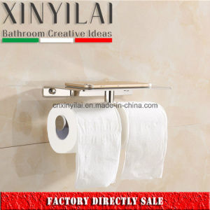 Bathroom Chrome Double Toilet Paper Holder with Cover pictures & photos