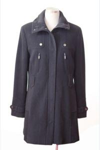 Women Winter Wool Overcoat with Two Zip Pocket in Front (DWL-13042)