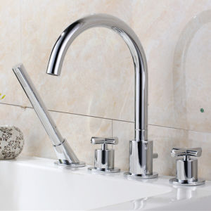 Brass Dual Handle 4 Pieces Bathroom Sanitary Water Tap in Chrome (60124)