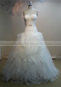 Ball Gown Ruffles Ivory Organza Wedding Dress