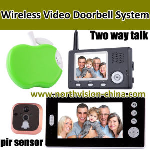 3.5inch+7inch Wireless Video Door Phone, 1camera with 2 Monitor, Take Photo, Two Way Talk, PIR Sensor, Doobell (W004)