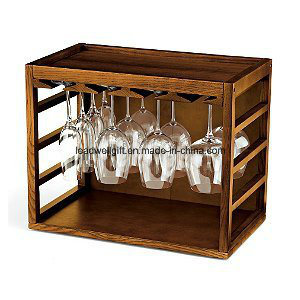 Cube-Stack Wine Glass Rack -Walnut Stained Mahogany Wood Glass Cabinet pictures & photos