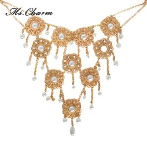 Simulated-Pearl Crystal Gold-Color Flower Necklace Retro Style Long Necklaces pictures & photos