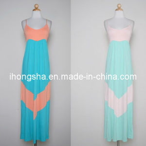 Colorblock / Chevron Knit Maxi Lady Dress (HGS1564)