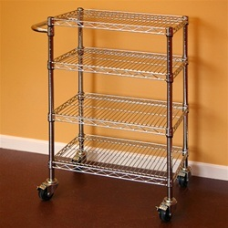 NSF Chrome Plated Steel Utility Cart Trolley with Push Handle pictures & photos