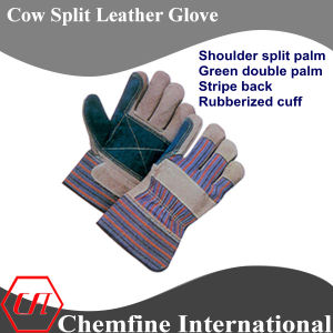 Shoulder Split Palm, Green Double Palm, Stripe Back, Rubberized Cuff Leather Work Gloves pictures & photos