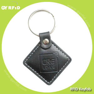 Kel01 Leather Material FM11RF08 13.56MHz RFID Keychains (GYRFID) pictures & photos