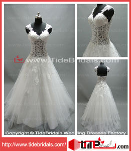 V-Neck Straps Lace Tulle Brides Evening Gown Bridal Wedding Dress (LT2154)