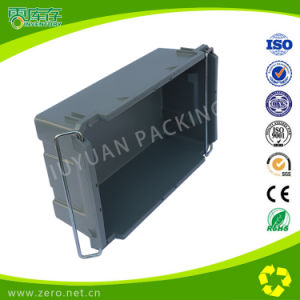 Heavy Duty Turnover Container Used Nesting Plastic Storage Box Withiron Handle pictures & photos