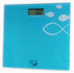Oilpainting Glass Weighing Bathroom Scale (HB115-blue) pictures & photos