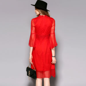 Red Stand Collar Puff Sleeve Silk Women Evening Dress pictures & photos