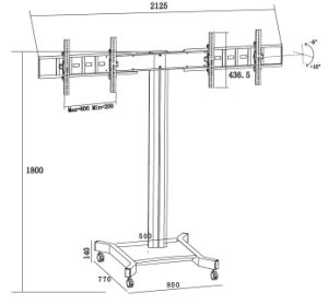 "Public TV Floor Stand Wheelbase Dual Screen 30-60"" (AVA 202F) pictures & photos"