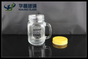 16oz 480ml Glass Mason Jar with Handle and Screw Lid