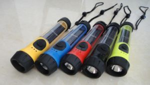 LED Solar Flashlight with Backup Battery and Indicator Light pictures & photos