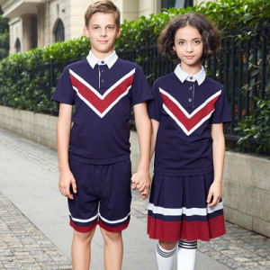 Custom Fashion Navy Blue Nautical School Boy Polo Shirts Uniforms pictures & photos