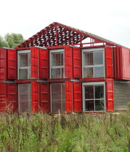 Containerized Energy Center with Steel Awnings, Recycled Windows and Doors pictures & photos