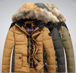 Mens Winter Padding Hooede Fur Leather Fashiong Jacket pictures & photos