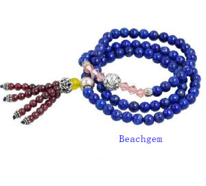 Natural Lapis Beads Bracelet with Silver Charm (BRG0031) pictures & photos