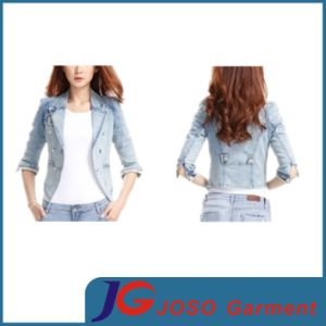 Short Sleeve Full Button Pocket Girl Jacket Jeans Clothing (JC4072) pictures & photos