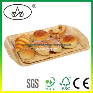 Servingtray for Dessert/ Tea/Drink/ Food/Bread/Breakfast/Fruit/Snack/Fast Food/Coffee/Organizer/Container/Cafe/Baking/Bamboo/Wood/Restaurant/Daily Use (LC-660B)